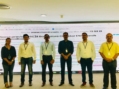 ISC2 Bangalore Chapter board members (shown from left to right): Shilpa Iyer (Director Membership), Kulsharest Jain (Marketing and Growth Hacker), Britto Sidhan (Secretary) Roshan George(Vice President),  Pravin Goyal (President) and Rupesh Shantamurty (Treasurer)