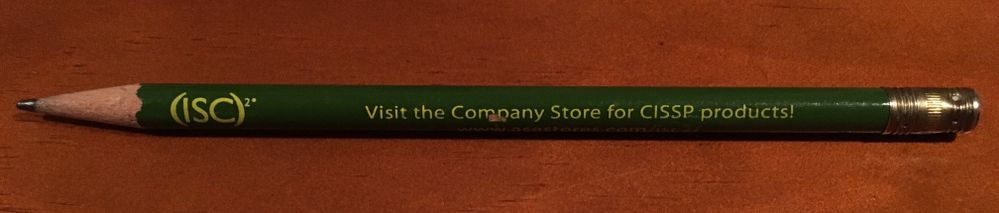 Here's a blast from the past. The original pencil that I wrote my CISSP exam with and passed the first time! It's a classic piece of (ISC)2 history long before computer adaptive testing was even a glimmer in managements eyes.