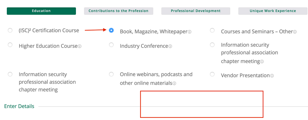 CANNOT Put CPE credit on Books Magazine and white paper.png