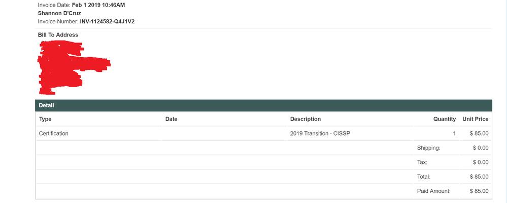 CISSP Purchase confirmation - 20190201.png